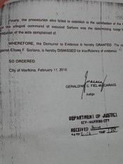 Judge Josephine Zarate-Fernandez dismisses case of attempted murder on January 14. 2014